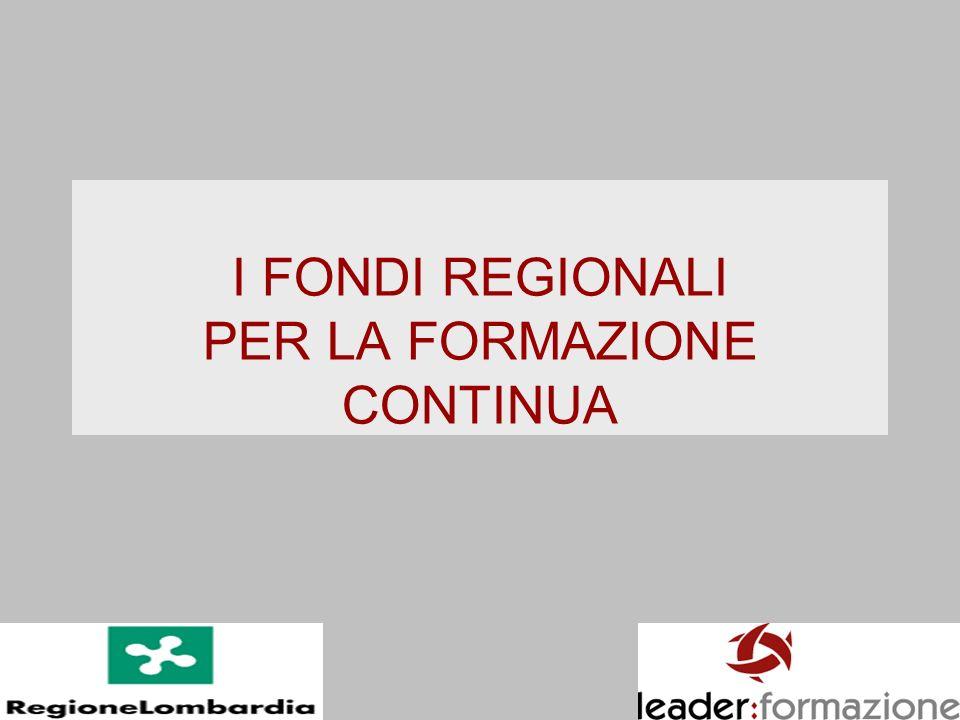 I FONDI REGIONALI PER LA FORMAZIONE CONTINUA
