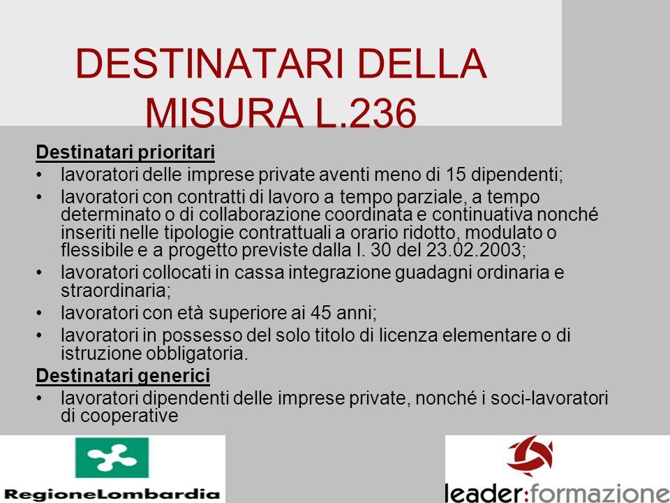 DESTINATARI DELLA MISURA L.236