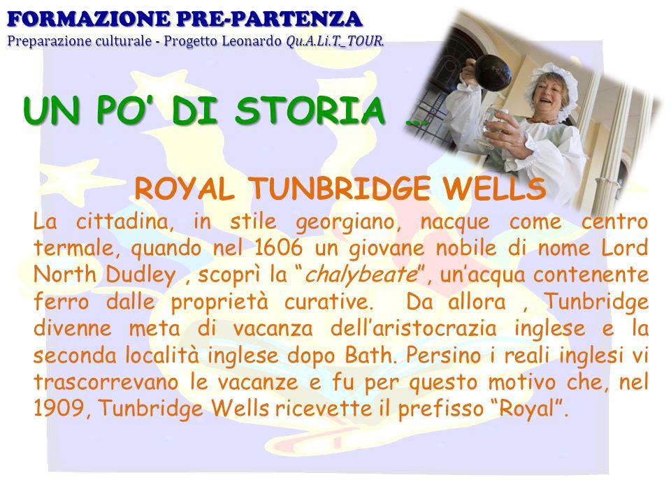 UN PO' DI STORIA … ROYAL TUNBRIDGE WELLS FORMAZIONE PRE-PARTENZA