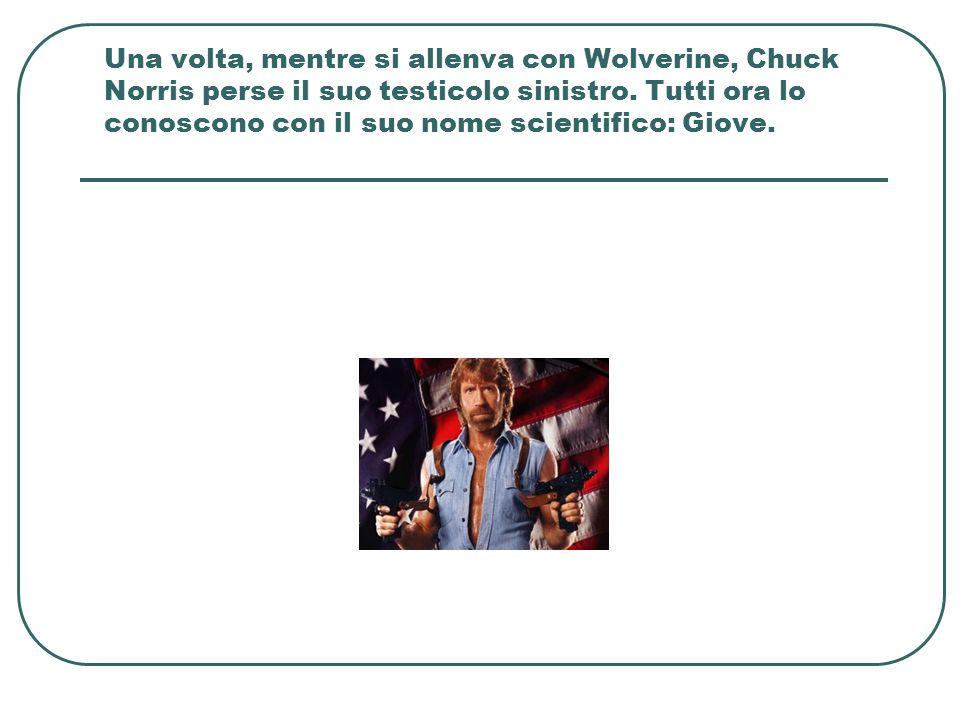 Una volta, mentre si allenva con Wolverine, Chuck Norris perse il suo testicolo sinistro.