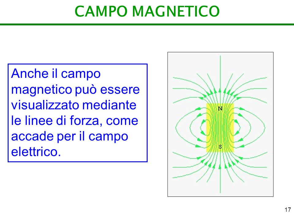 CAMPO MAGNETICO Anche il campo magnetico può essere visualizzato mediante le linee di forza, come accade per il campo elettrico.