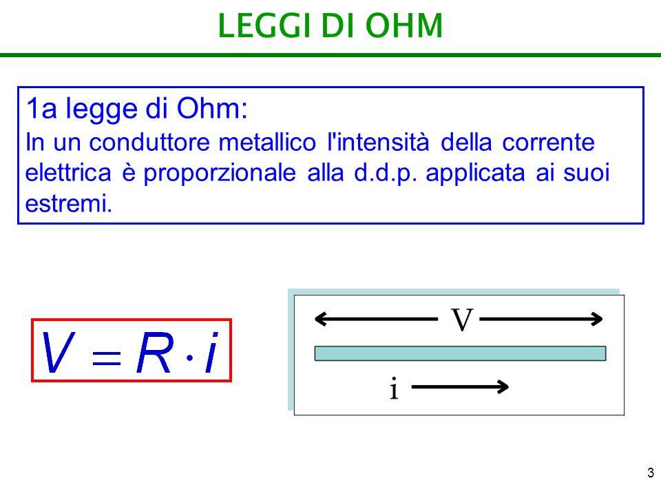 LEGGI DI OHM 1a legge di Ohm: