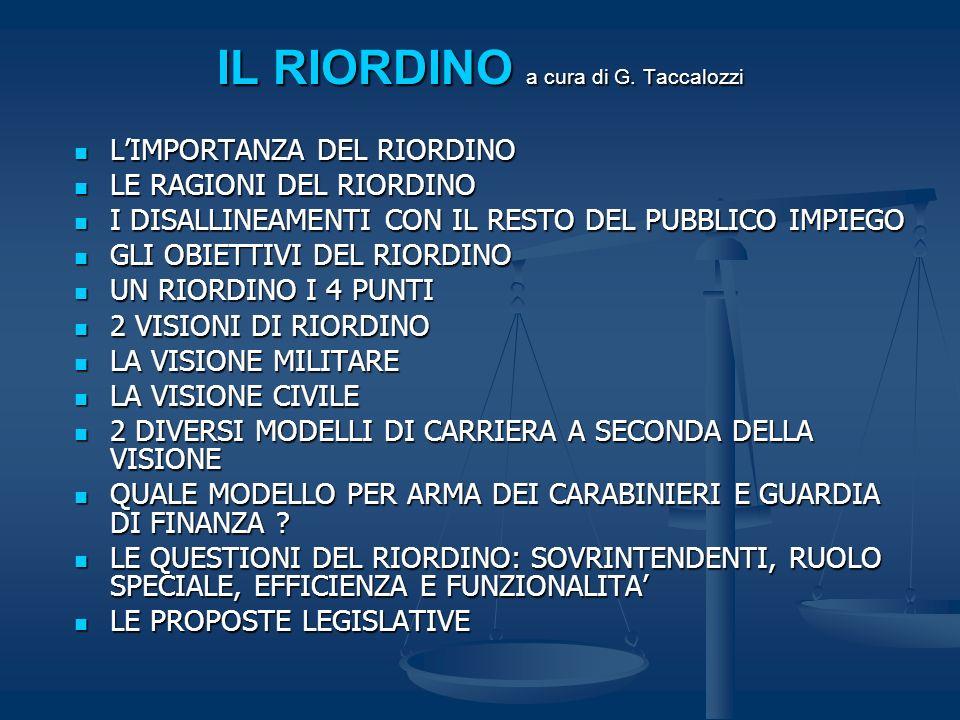 IL RIORDINO a cura di G. Taccalozzi