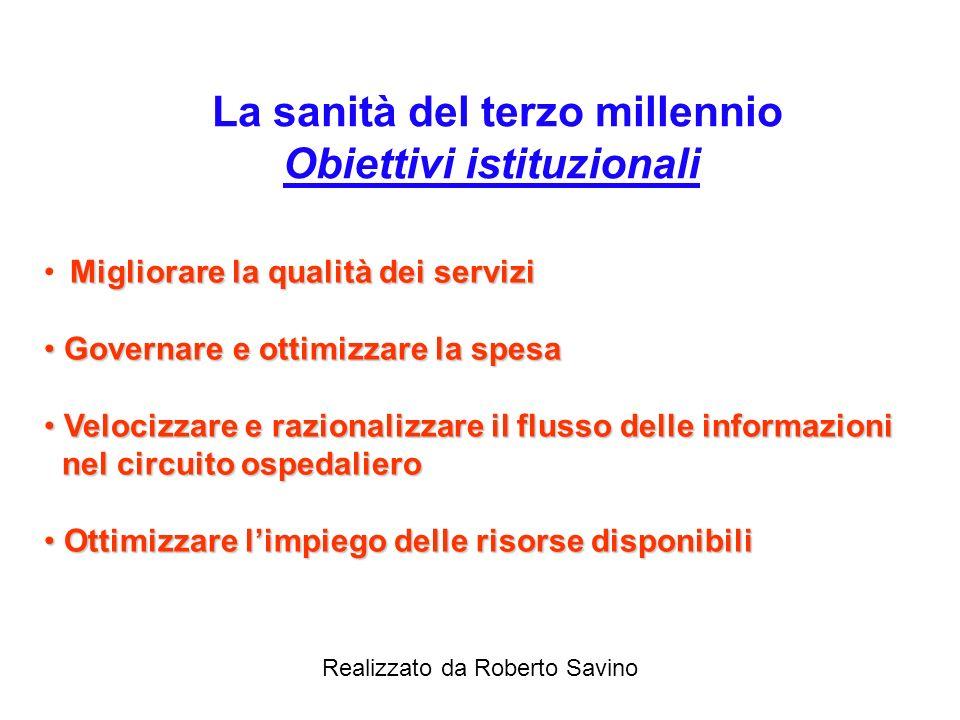 La sanità del terzo millennio Obiettivi istituzionali