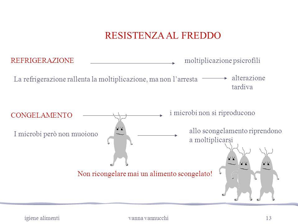RESISTENZA AL FREDDO REFRIGERAZIONE moltiplicazione psicrofili