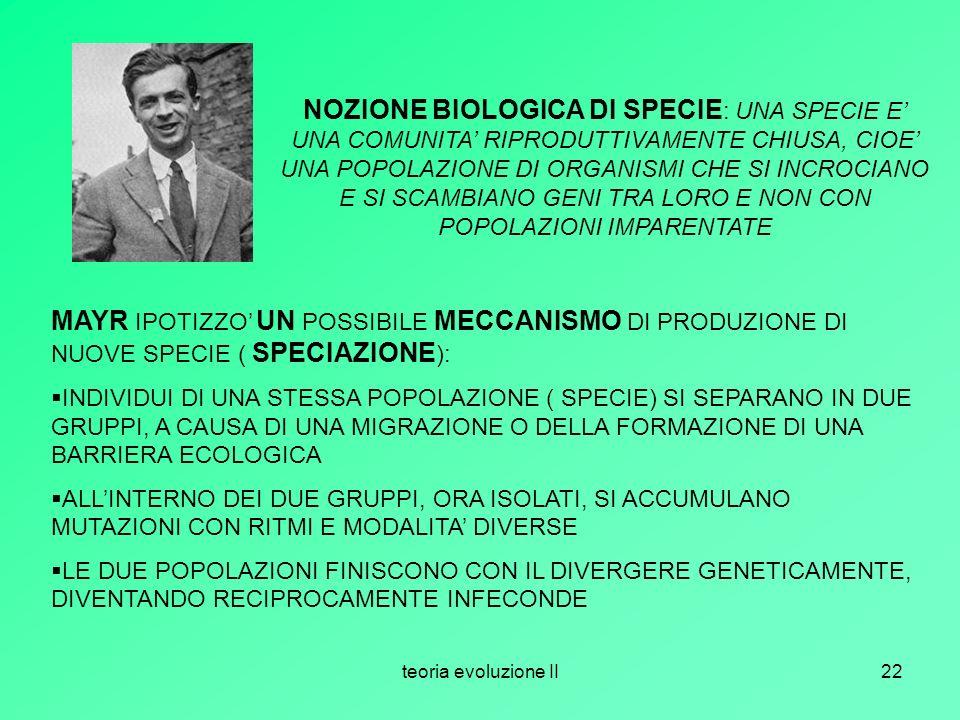 NOZIONE BIOLOGICA DI SPECIE: UNA SPECIE E' UNA COMUNITA' RIPRODUTTIVAMENTE CHIUSA, CIOE' UNA POPOLAZIONE DI ORGANISMI CHE SI INCROCIANO E SI SCAMBIANO GENI TRA LORO E NON CON POPOLAZIONI IMPARENTATE