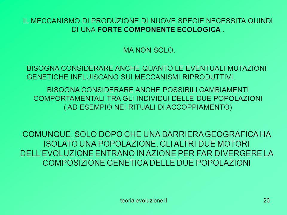 IL MECCANISMO DI PRODUZIONE DI NUOVE SPECIE NECESSITA QUINDI DI UNA FORTE COMPONENTE ECOLOGICA .