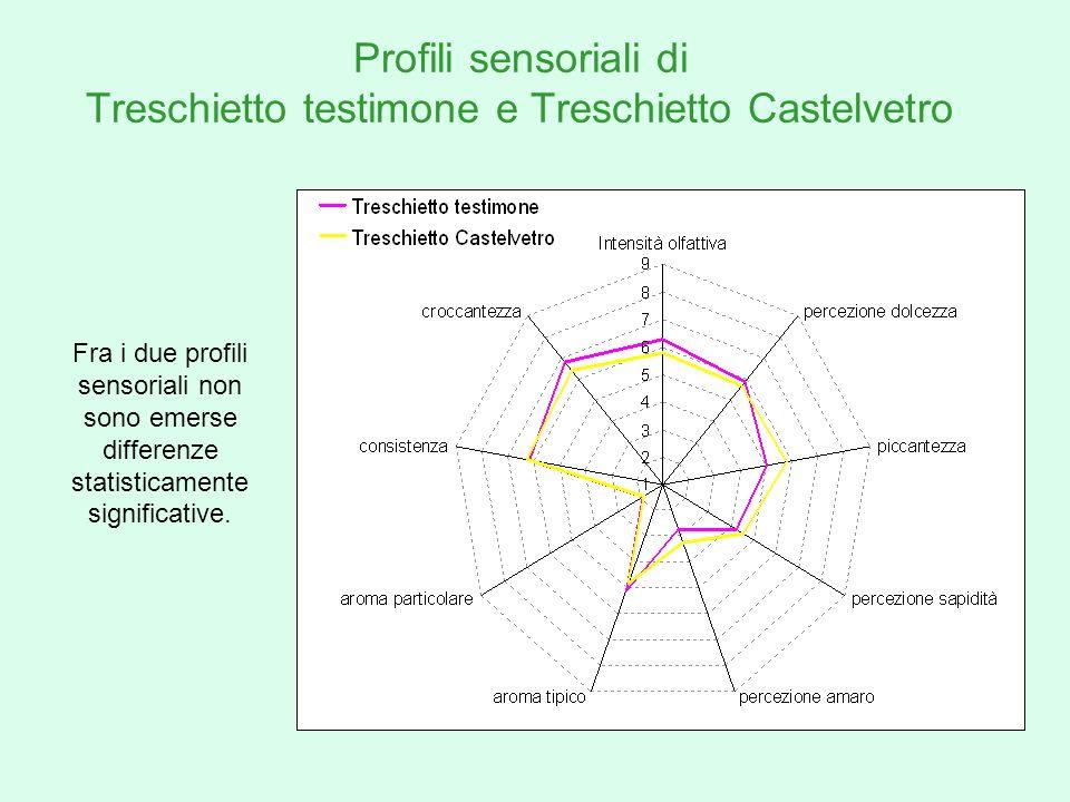 Profili sensoriali di Treschietto testimone e Treschietto Castelvetro