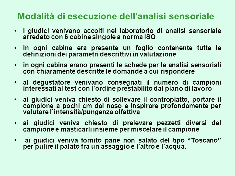 Modalità di esecuzione dell'analisi sensoriale