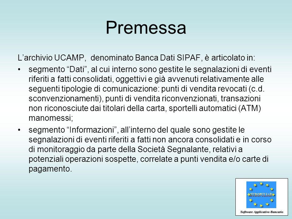 Premessa L'archivio UCAMP, denominato Banca Dati SIPAF, è articolato in: