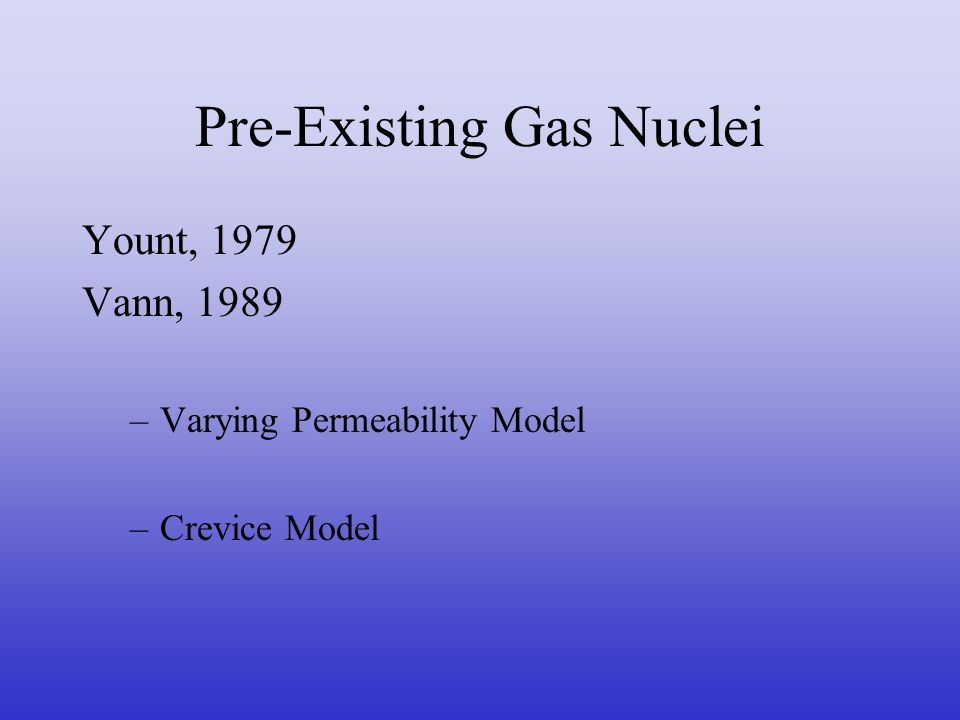 Pre-Existing Gas Nuclei