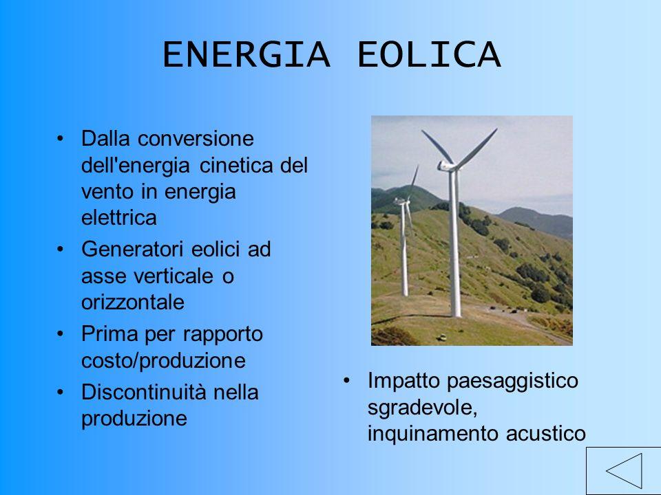 ENERGIA EOLICA Dalla conversione dell energia cinetica del vento in energia elettrica. Generatori eolici ad asse verticale o orizzontale.