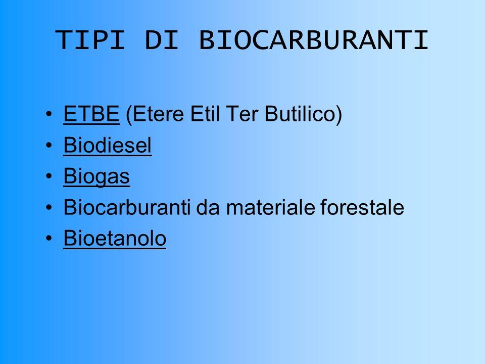 TIPI DI BIOCARBURANTI ETBE (Etere Etil Ter Butilico) Biodiesel Biogas