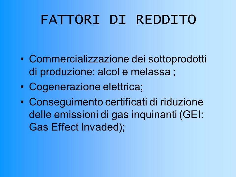 FATTORI DI REDDITO Commercializzazione dei sottoprodotti di produzione: alcol e melassa ; Cogenerazione elettrica;