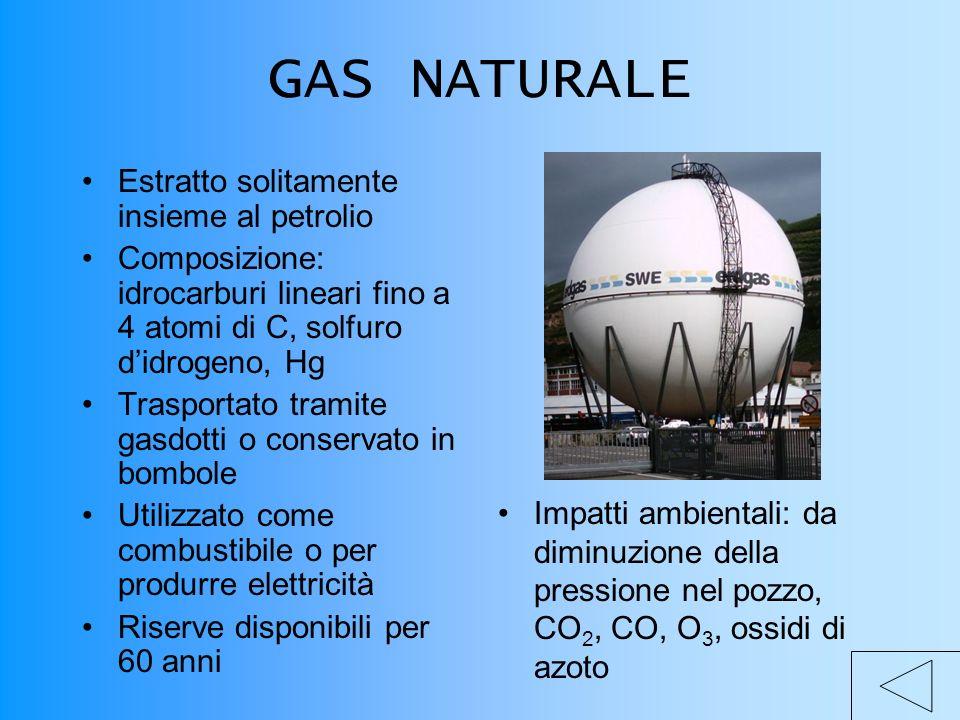 GAS NATURALE Estratto solitamente insieme al petrolio