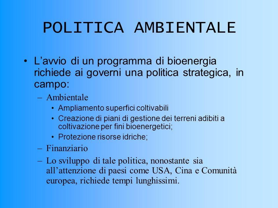 POLITICA AMBIENTALE L'avvio di un programma di bioenergia richiede ai governi una politica strategica, in campo: