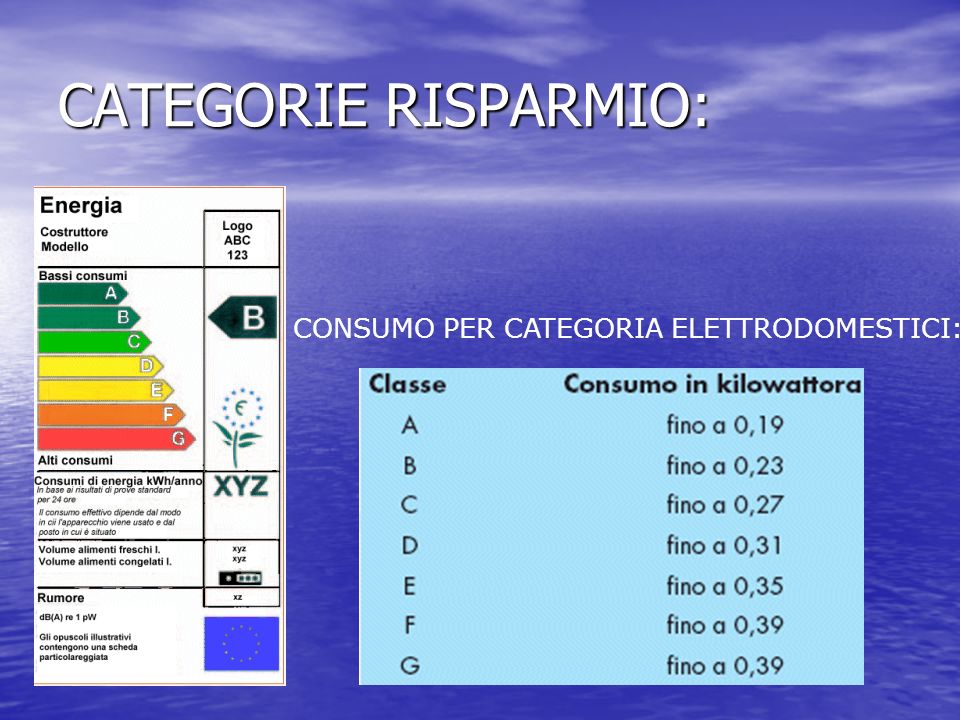 CATEGORIE RISPARMIO: CONSUMO PER CATEGORIA ELETTRODOMESTICI: