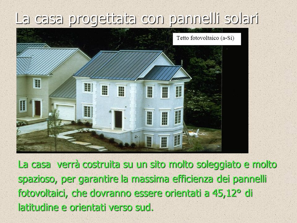 La casa progettata con pannelli solari