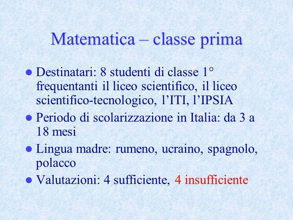 Matematica – classe prima