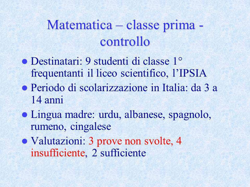 Matematica – classe prima - controllo