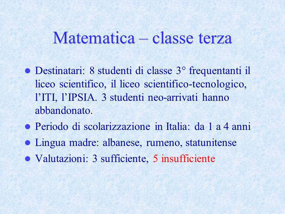 Matematica – classe terza