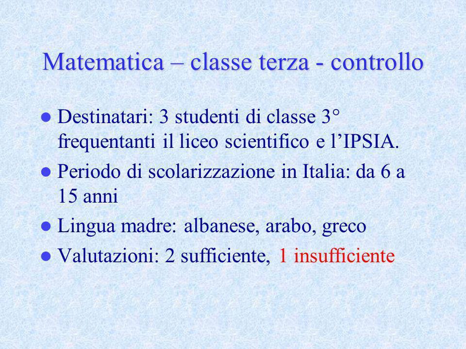 Matematica – classe terza - controllo