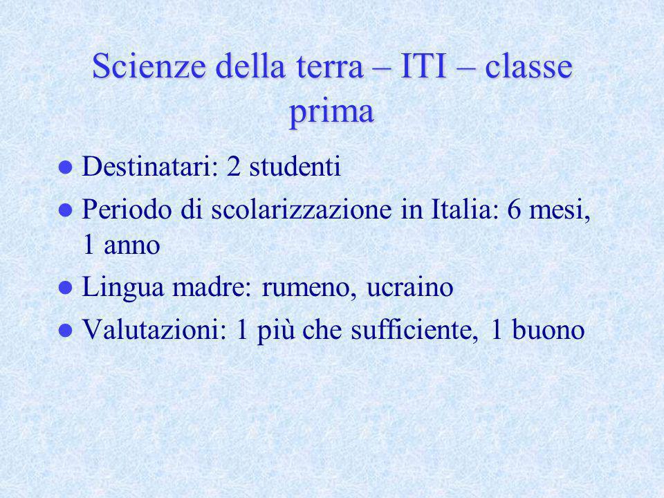 Scienze della terra – ITI – classe prima