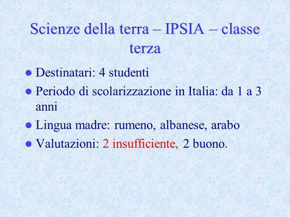 Scienze della terra – IPSIA – classe terza