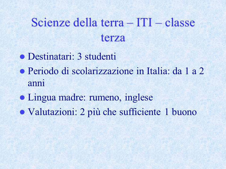 Scienze della terra – ITI – classe terza