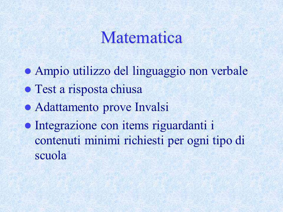 Matematica Ampio utilizzo del linguaggio non verbale