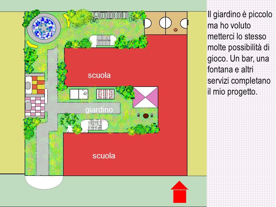 Il giardino è piccolo ma ho voluto metterci lo stesso molte possibilità di gioco. Un bar, una fontana e altri servizi completano il mio progetto.