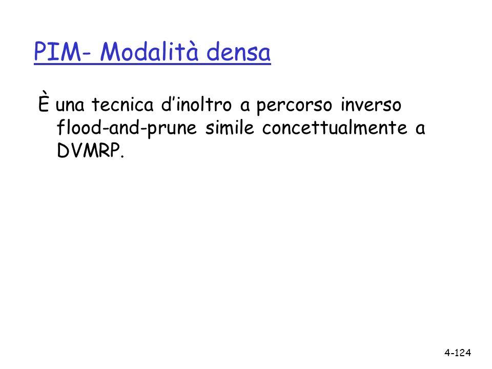 PIM- Modalità densa È una tecnica d'inoltro a percorso inverso flood-and-prune simile concettualmente a DVMRP.