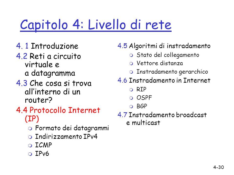Capitolo 4: Livello di rete