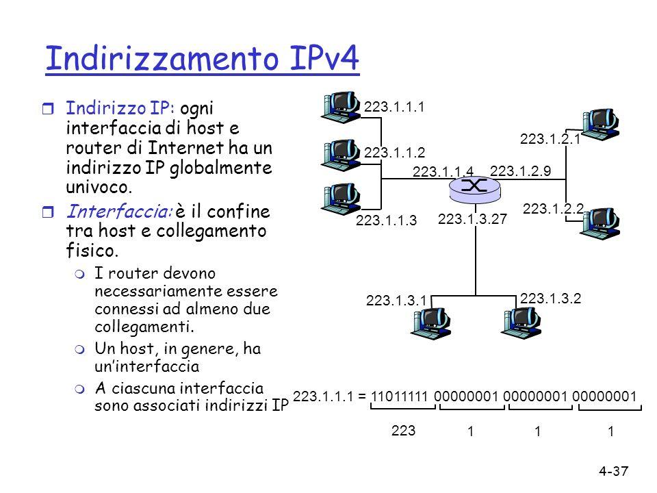 Indirizzamento IPv4 Indirizzo IP: ogni interfaccia di host e router di Internet ha un indirizzo IP globalmente univoco.