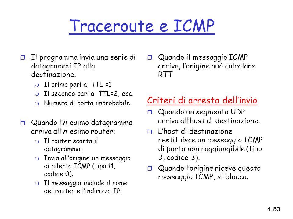 Traceroute e ICMP Criteri di arresto dell'invio