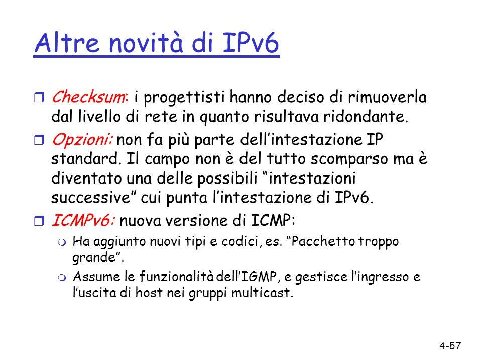 Altre novità di IPv6 Checksum: i progettisti hanno deciso di rimuoverla dal livello di rete in quanto risultava ridondante.