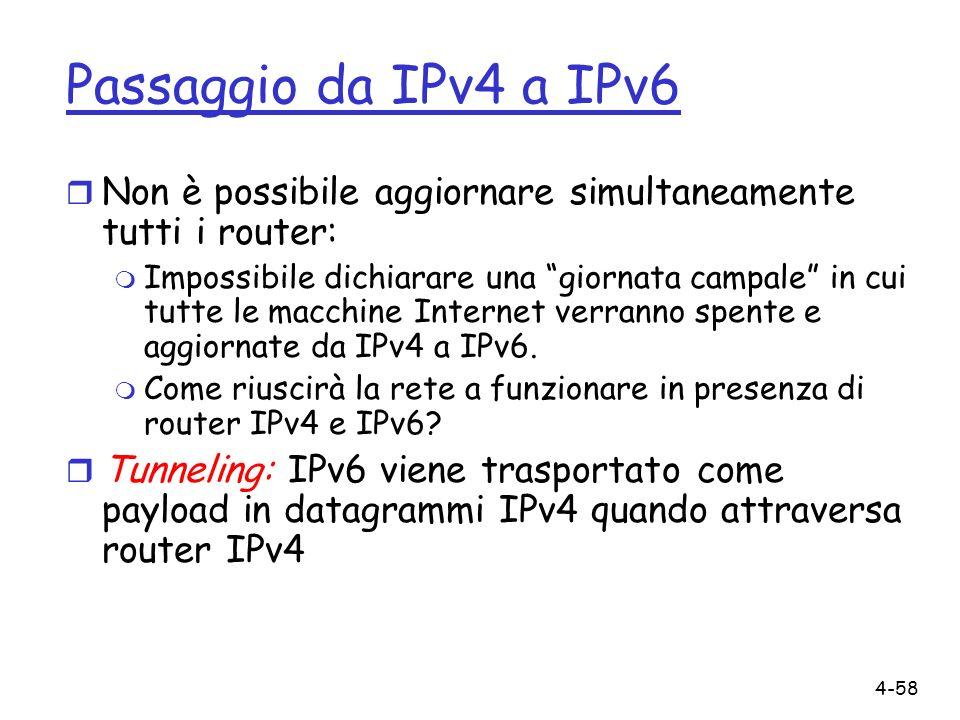 Passaggio da IPv4 a IPv6 Non è possibile aggiornare simultaneamente tutti i router: