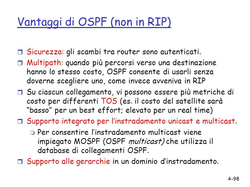 Vantaggi di OSPF (non in RIP)