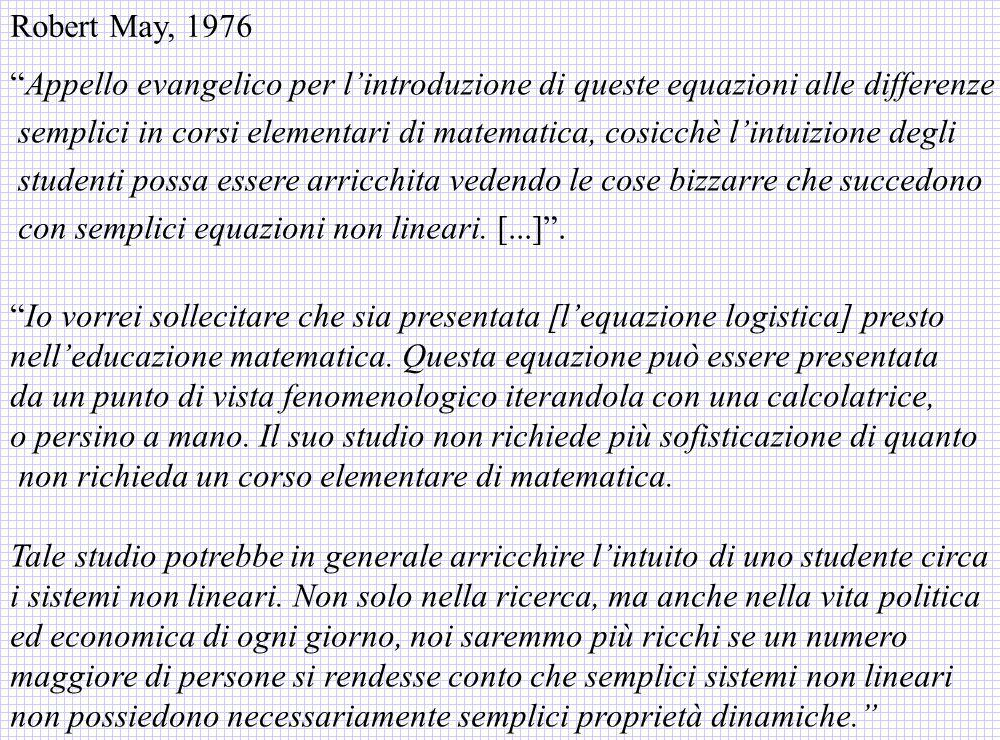 Robert May, 1976 Appello evangelico per l'introduzione di queste equazioni alle differenze.