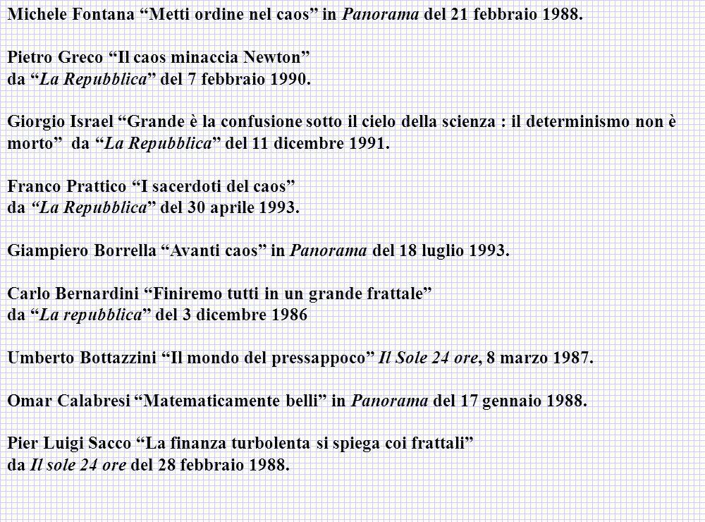Michele Fontana Metti ordine nel caos in Panorama del 21 febbraio 1988.