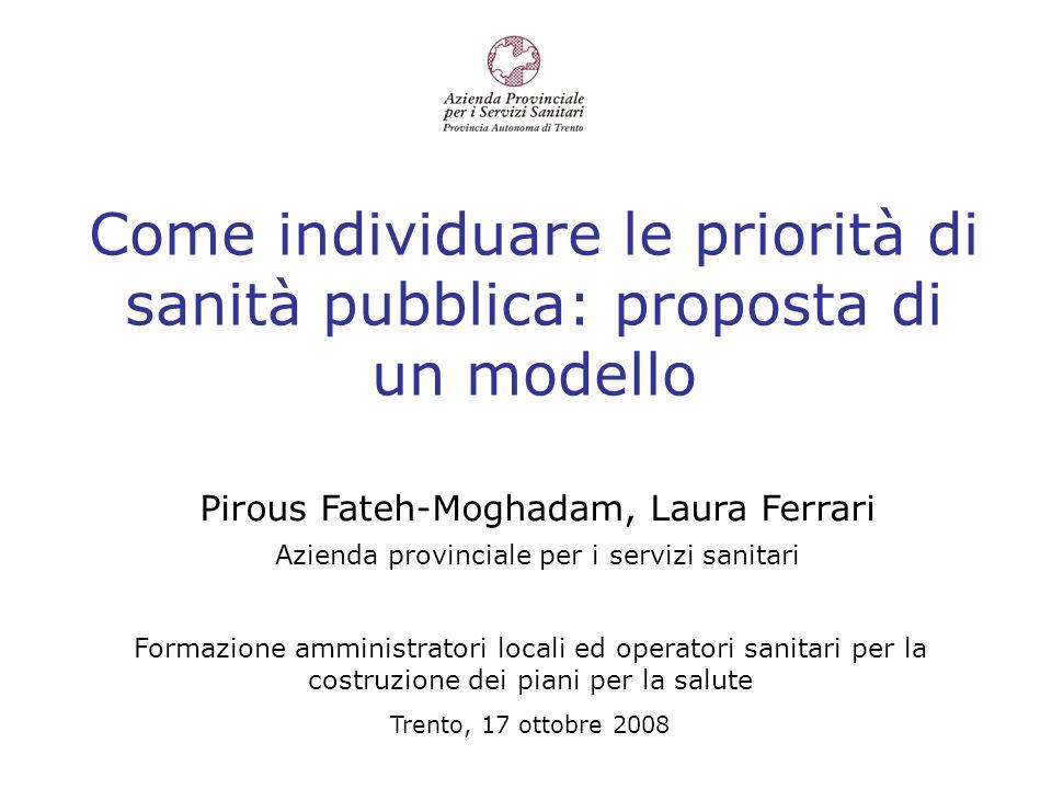 Come individuare le priorità di sanità pubblica: proposta di un modello