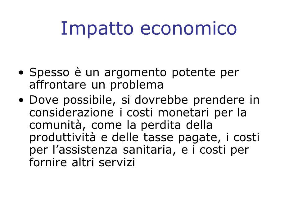 Impatto economico Spesso è un argomento potente per affrontare un problema.