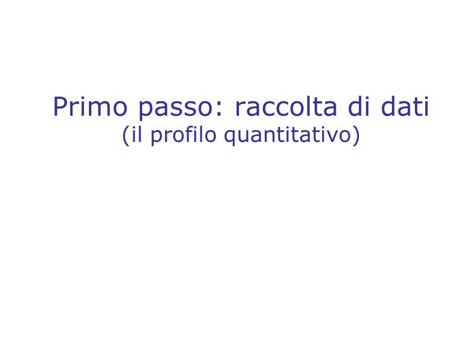 Primo passo: raccolta di dati (il profilo quantitativo)