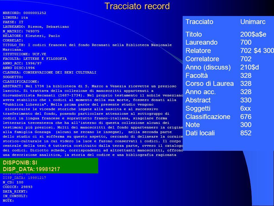 Tracciato record Tracciato Unimarc