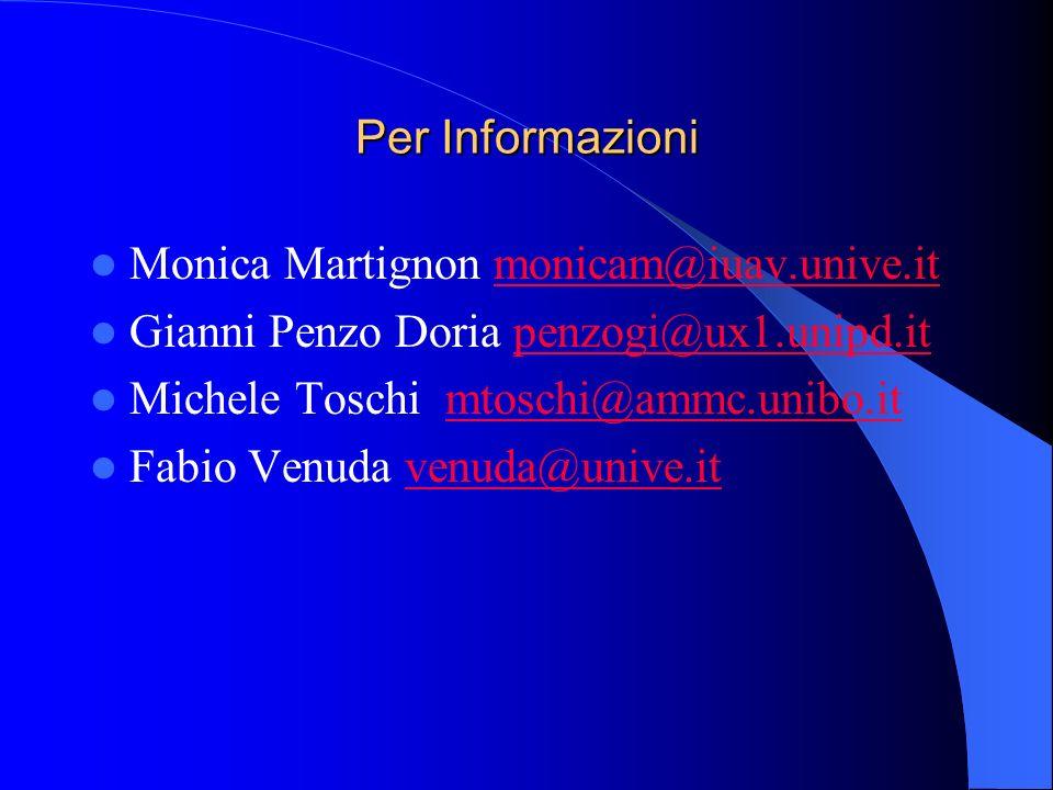 Per Informazioni Monica Martignon monicam@iuav.unive.it. Gianni Penzo Doria penzogi@ux1.unipd.it. Michele Toschi mtoschi@ammc.unibo.it.
