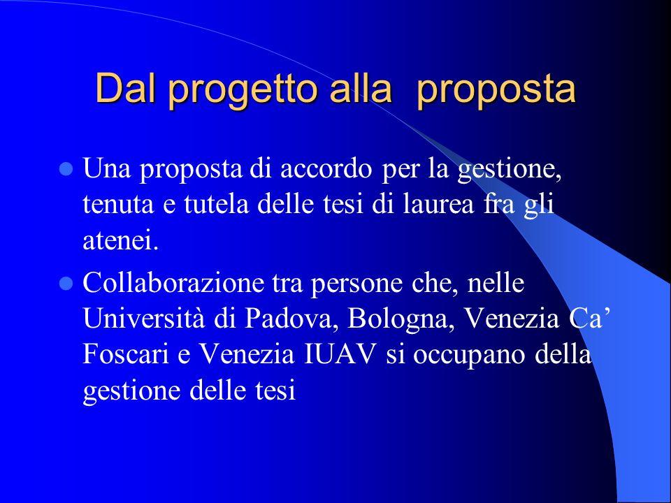 Dal progetto alla proposta