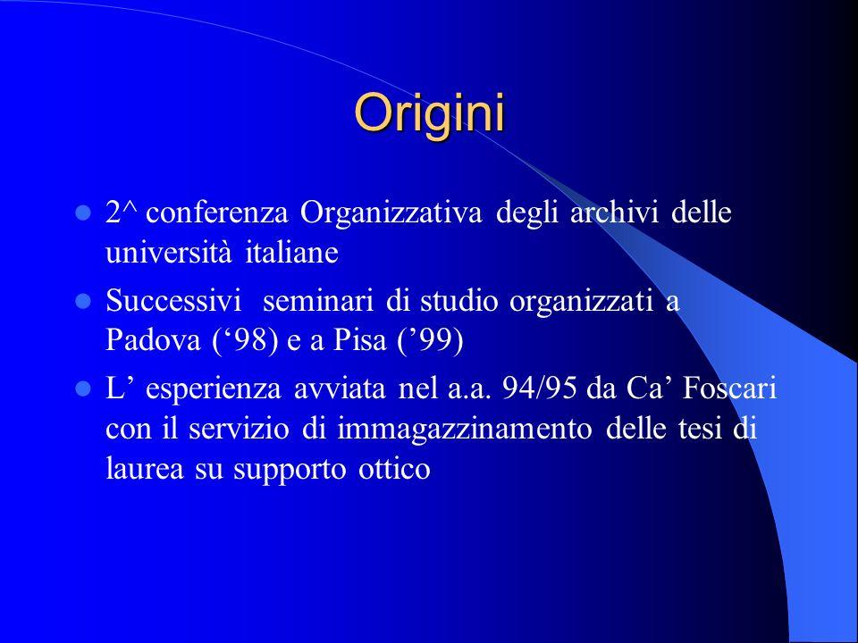 Origini 2^ conferenza Organizzativa degli archivi delle università italiane.