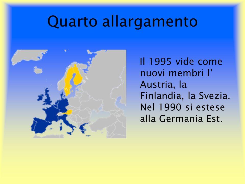 Quarto allargamento Il 1995 vide come nuovi membri l' Austria, la Finlandia, la Svezia.