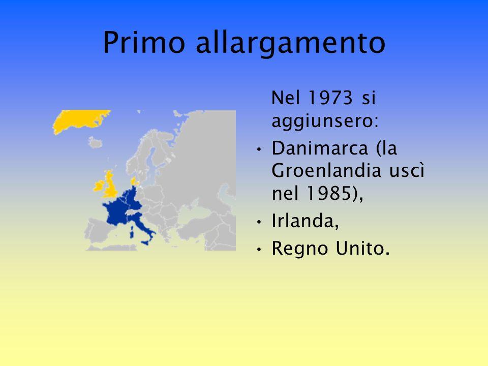 Primo allargamento Nel 1973 si aggiunsero: