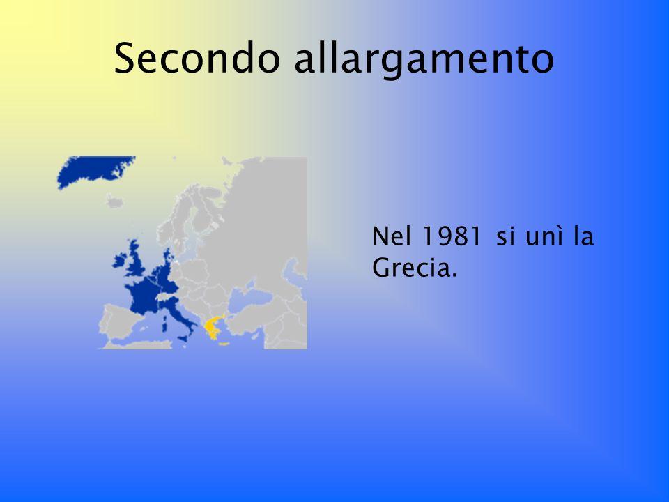 Secondo allargamento Nel 1981 si unì la Grecia.